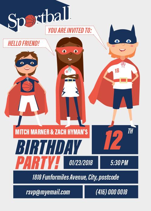 Sportball Birthday Party Invitation