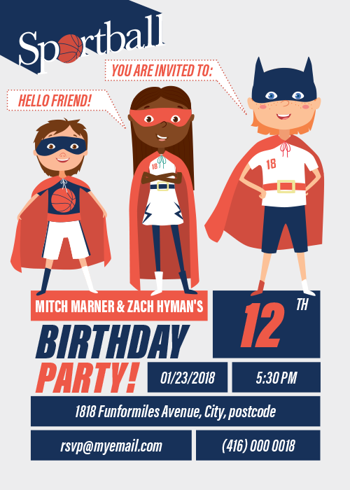 Sportball Birthday Party Invitation